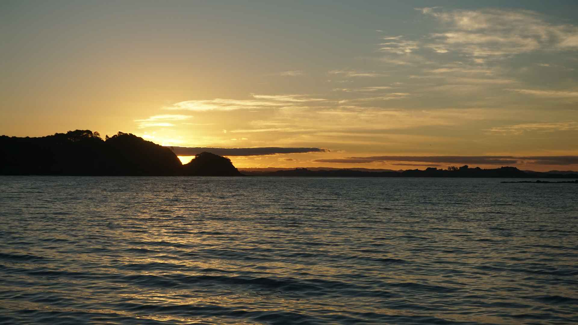 sunset in the bay of islands