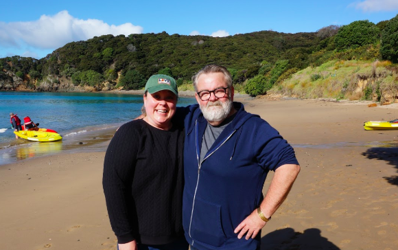 Brie and her father enjoying the beach at Moturua, Bay of Islands.