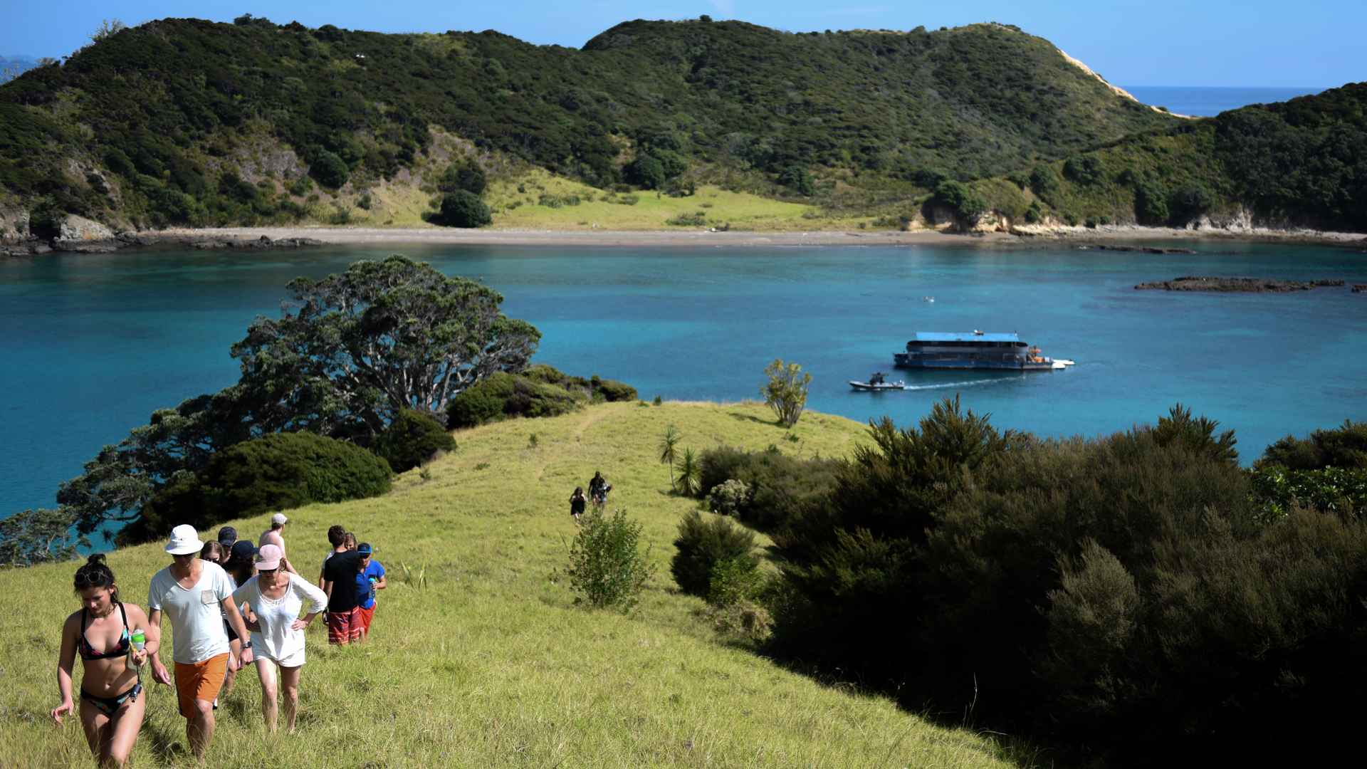 view overlooking pahia bay of islands new zealand and The Rock boat